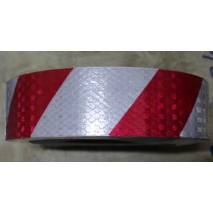 Наклейка (лента светоотражающая, ПРИЗМА, 1 м, красно-белая, 50 мм), 7021, 12604